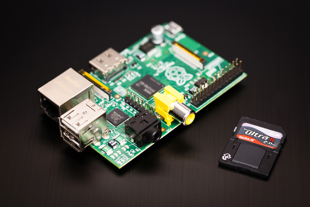 A Picture of the Raspberry Pi Model B.