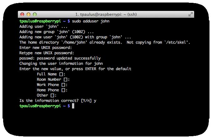 Terminal ScreenShot of New User Dialogue